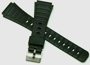 20MM FLEXIBLE NON CRACK BLACK RESIN WATCH STRAP WITH STEEL BUCKLE & FREE PINS