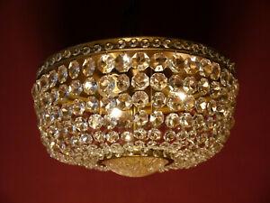 OLD BRASS GLASS CEILING LAMP LIGHT CHANDELIER LUSTRE PLAFONNIER BRONZE