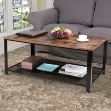Wood Coffee Table 2 Tiers Living Room w/Reticulate Storage Shelf Cocktail Table