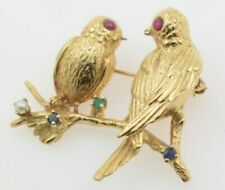 14K Yellow Gold Bird Brooch with Emerald Pearl Sapphire and Rubies
