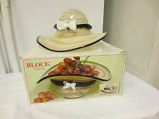 Older Block Crystal Hat Figural Fruit,Console Bowl-Laura #B6002-Hand Made Art Gl