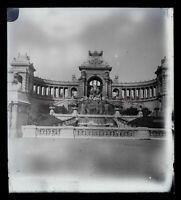 Francia Marsiglia Palais Longchamp Foto Negativo Placca Da Lente Vintage c1900