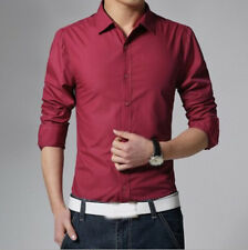 Fashion Men's Slim Fit Shirts Stylish Luxury Casual Long Sleeve Dress 15 Colors