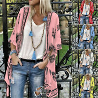 Women's Lady 3/4 Sleeve Floral Chiffon Fashion Loose Kimono Cardigan Capes Hot