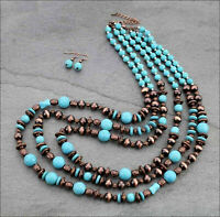 Southwest Tribal Turquoise Beads Copper Navajo Style Beads Cowgirl Necklace Set