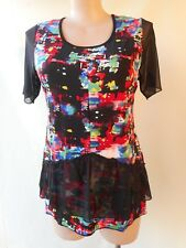 New Black red stretch top print EVERSUN size 24 NWT short sleeves