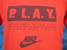 vintage 90s NIKE GRAY TAG P.L.A.Y. T-Shirt SMALL/MEDIUM basketball hip hop 80s