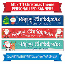 Personalised Christmas Banners - 6 x 1 ft - Indoor / outdoor use - Happy Xmas