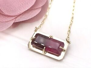 """14K Yellow Gold & Natural Pink Tourmaline  (5.42ct) Pendant/ Necklace,18.75"""" New"""