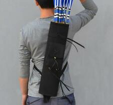 Traditional Back Arrow Quiver Black Suede Leather Archery Hunting