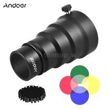 Andoer Flash Mount Snoot+Honeycomb Grid Filter Kit for Video DSLR Studio Strobe