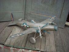 "Vintage Folk Art Carved Wood Air Plane WW11 Era Plane Americana 21"" AAFA"
