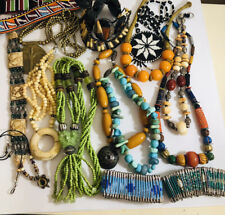 Bracelets Job Lot Beadwork Chunky Vintage , Tribal Necklaces ,