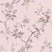 Chinoserie Pájaro Wallpaper-Rosa-FINE DECOR Fd40766