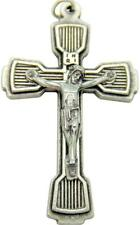 "MRT  Large Silver Plate Metal Ornate Crucifix Catholic Rosary Cross 1 1/2"" Italy"