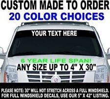 """WINDSHIELD BANNER DECAL LETTERS CUSTOM MADE 4"""" LETTERING SMALL HALF WINDOW SIZE"""