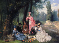 Oil painting Antonio Garcia Mencia - The Picnic young girls men party canvas