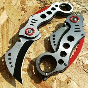 Tactical KARAMBIT FOLDING POCKET KNIFE Slate Red SPRING ASSIST Open Claw Hunting