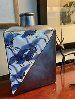 Japanese Hand Crafted Vase, Otagiri, Blue Flying Cranes Design, Beautiful Glaze
