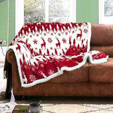 New Stag Christmas Throw Flannel Sherpa Sofa Bed Floor Camping Bedding Blanket