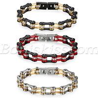 Men's Biker Chunky Stainless Steel Rhinestones Bracelet Motorcycle Link Chain