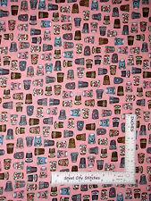 Sew Quilt Thimble Toss Pink Cotton Fabric QT 24159 Thimble Pleasures - Yard