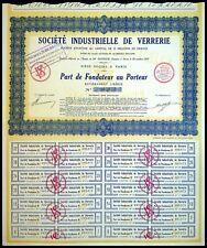 Société Industrielle de verrerie, par de fondateur au Porteur 1929 - N°005873