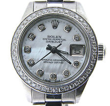 Rolex Datejust Lady SS Stainless Steel Watch White MOP Diamond Dial .70ct Bezel