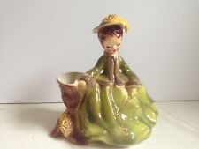 Vintage Josef Originals Claudia Planter Figurine Green Dress Riding Crop #231