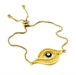 EVIL EYE BRACELET Turkish Jewelry Charms Adjustable Luck Good Gold Filled Hamsa