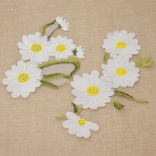 Daisy Flower Embroidered on Patch Iron for Clothes Cap Fabric Applique Gifts