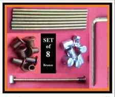 Juego 8 Conectores De Perno Perno de Cama/reemplazos .125mm.M6 Varilla/Manga/Tuerca Bronce 20mm.