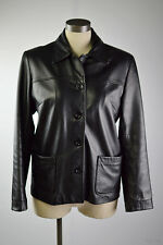 BEDOYA & SLY  CANADA Genuine Women Leather Jacket Coat  Sz S Buttons Up Black