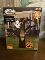 Airblown Inflatable 7 Ft Tall Spooky Tree Ghost Pumpkin Halloween Gemmy