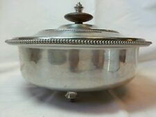 Vintage 1950's B W Buenilum Aluminum Serving Dish with Lid and Feet, Wooden Disk