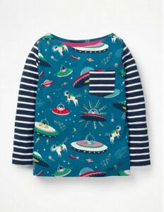 Mini Boden Girls Astro Dog UFO Space Hotchpotch Pocket Long Sleeve Top 2-12 Yrs