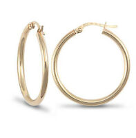 Fashion 9ct Yellow Gold Solid Womens Ultra Light Plain Creole Hoop Earrings 30mm
