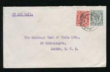KENYA KG5 1932 NATIONAL BANK of INDIA EMBOSSED FLAP ENV...KISUMU AIRMAIL to GB