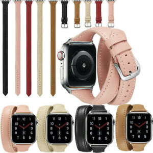 Genuine Leather Watch Band Double Tour Strap For Apple Watch Series 5 4 3 2 1