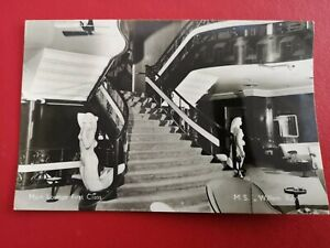 Royal Rotterdam Lloyd MS WILLEM RUYS First Class Lounge Ship Liner RP c1950s