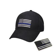 Combo Set Police USA Memorial Blue Line Flag Black Cap Hat & Lapel Pin 2