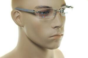 TAG HEUER RIMLESS TRENDS TH8109 013 56mm Men Square Frames Eyeglasses GREY BLACK