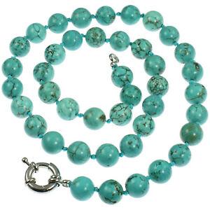 Genuine semi precious turquoise 1 cm round bead stone 60 cm choker necklace