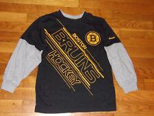 REEBOK BOSTON BRUINS LONG SLEEVE BLACK/GRAY T-SHIRT BOYS SMALL 8 EXCELLENT