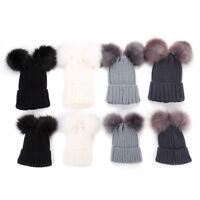 Children Kids Baby Warm Winter Knit Beanie Fur Double PomPom Bobble Hat Cap G