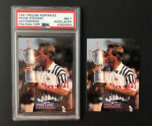 Payne Stewart 1991 Pro Line Portraits ~ autograph & regular card ~ PSA 7 NM AUTH