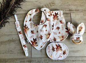 Baby Shower Gift bib Burp Cloth Teething Ring Bamboo nursing pad Autum Leaves