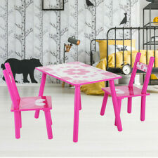 Kindersitzgruppe Kindertisch mit 2 Stühlen Kindermöbel Esstisch Holz Maltisch BR