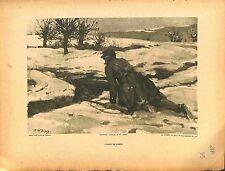 L' Agent de Liaison Poilus Soldats Tranchées de Paul Dupuy Peintre 1914 WWI