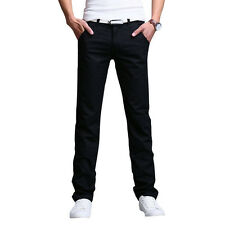 Mens Casual Slim Fit Straight-leg Long Trousers Jeans Formal Dress Leisure Pants